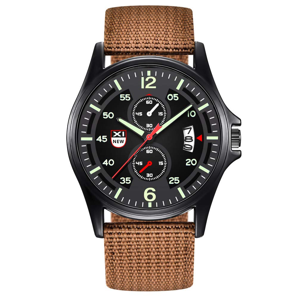 Fashion Men Watch,Fxbar Military Nylon Waterproof Sport Watch Quartz Wrist Watches Cool Design Automatic Watch(B)