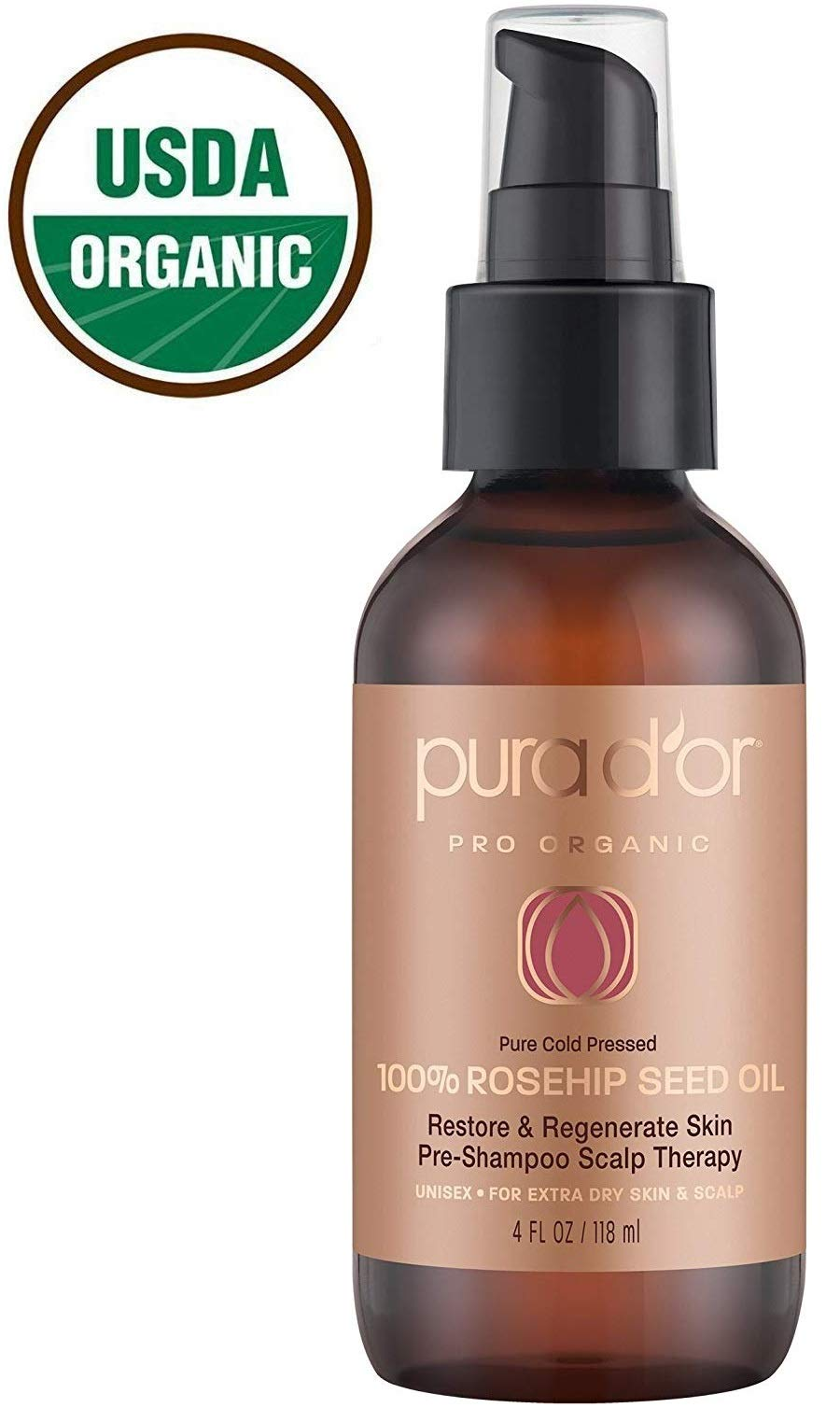 PURA D'OR (4 oz) Organic Rosehip Seed Oil 100% Pure Cold Pressed & USDA Certified Organic For Face, Hair, Skin & Nails, Men & Women