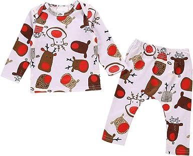 Conjuntos de Navidad para bebé niña 0-24 Meses Manga Larga Top de algodón + pantalón Estampado 2 Piezas Pijama Conjunto de impresión de Ciervos de Dibujos Animados: Amazon.es: Ropa y accesorios