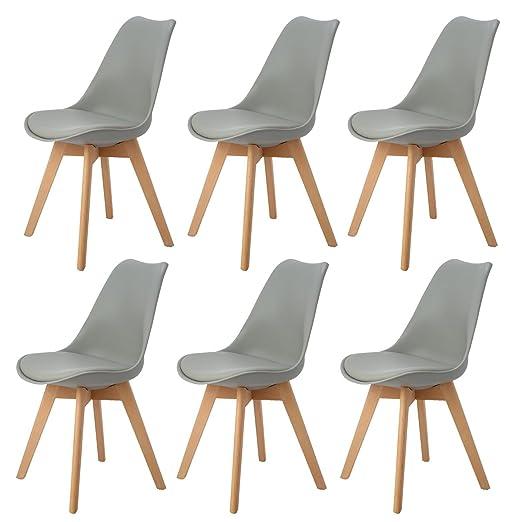 DORAFAIR Pack de 6 Silla de Comedor Silla escandinava, con Las piernas de Madera de Haya Maciza y cojín cómoda,Estilo nórdico,Gris
