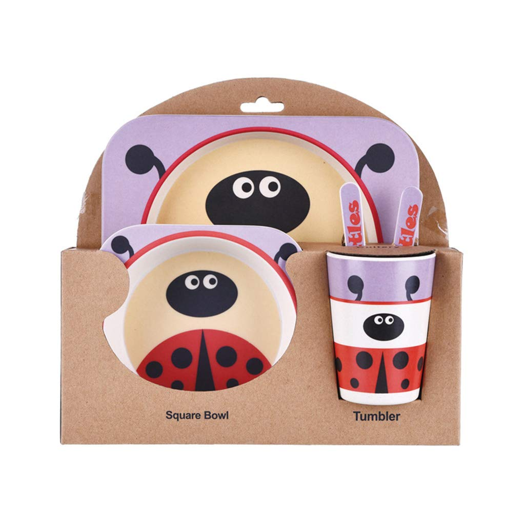 AUWU Kids Tableware Set 5Pcs Baby Bamboo Fiber Cartoon Bowl Animal Dinnerware Set Toddler Cup Spoon Fork