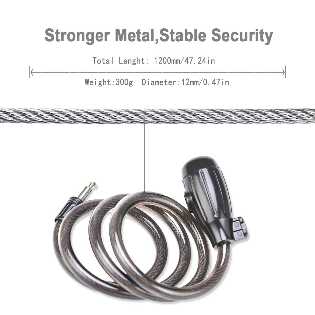 Bike Cable Lock, Shunfa 4ft x 0.47in Heavy Duty Braided Stainless Steel Cable Bicycle Lock with Mounting Bracket and 2 Keys, Security Level 4 by Shunfa (Image #3)