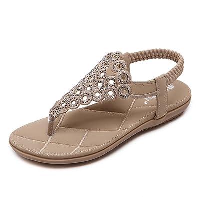 17bd1d63bf65 U-MAC Women s Flat Sandals Rhinestone Beaded Bohemian Dress Flip-Flop  Gladiator Shoes Plus