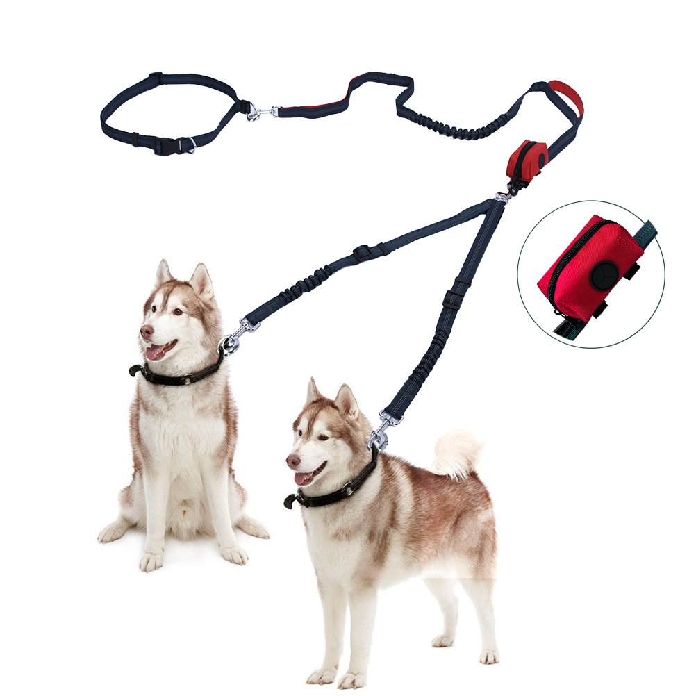 Free Paws Double Dog Leash, Hands Free Dog Walking Leashes for 2 dogs with Waist Leash Dual Bungees Padded Handles Waste Bag, 150Lbs Fit Medium to Large Dogs
