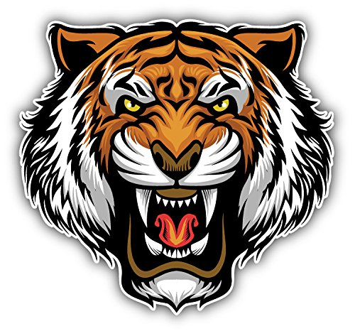 Angry Tiger Face Mascot Animal Art Decor Bumper Sticker 5'' x 5'' (Stickers Tiger)