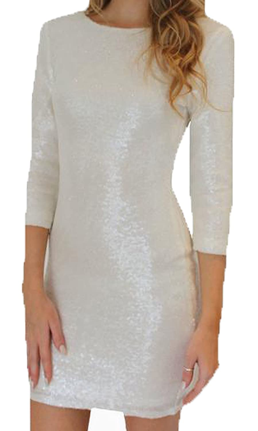 XTX Women Sequin Solid See Through Sexy Party Dress 2XL white