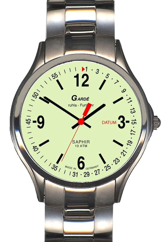 Garde' Uhren aus Ruhla Funkuhr mit Saphirglas Herrenuhr 94-26M nachleuchtend