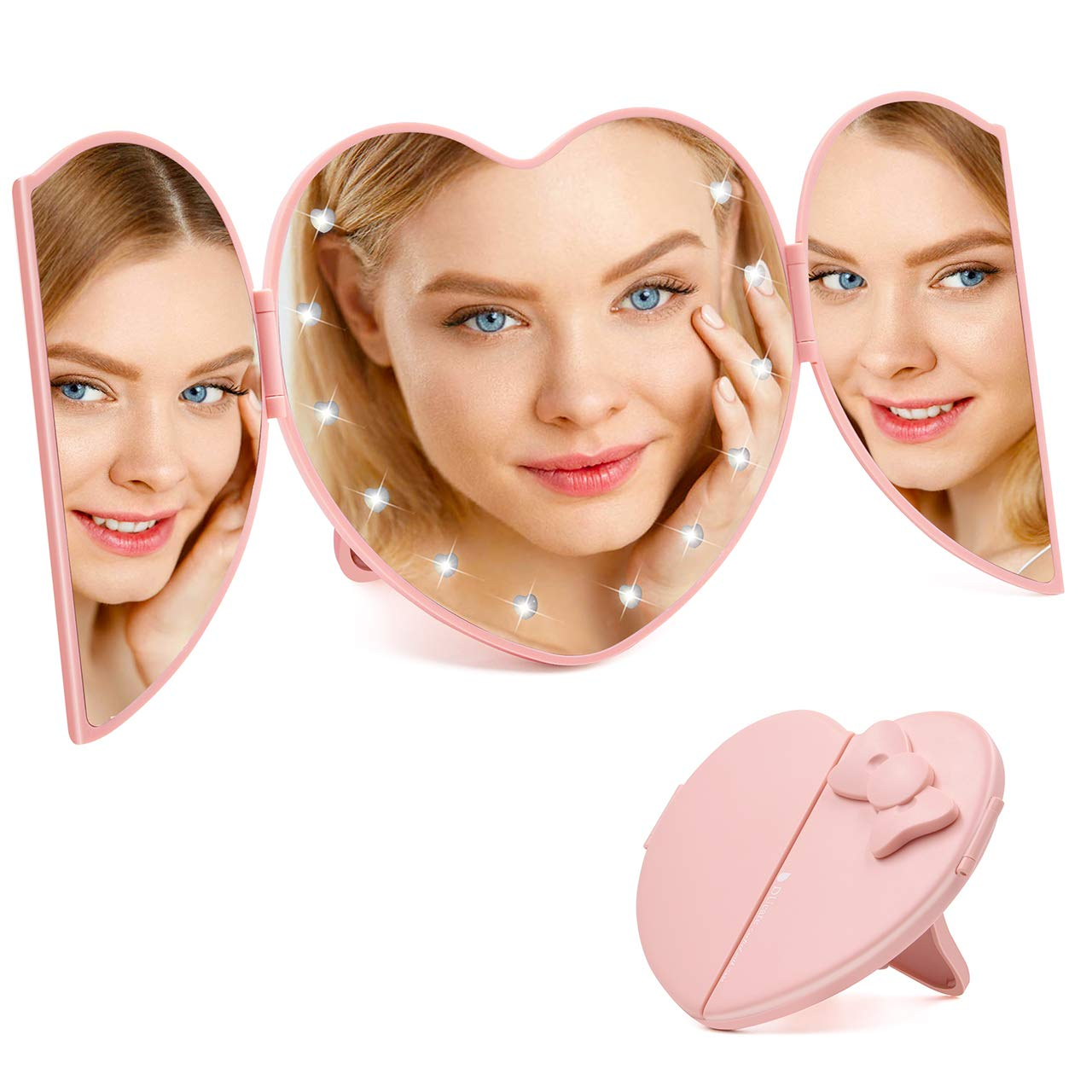 Ursulan Foldable Mirror LED Light Travel Makeup Mirror Tri Fold Heart Shape Portable Vanity Mirror for Personal Use Camping Travelling Cosmetic Mirrors Battery Operated Pink