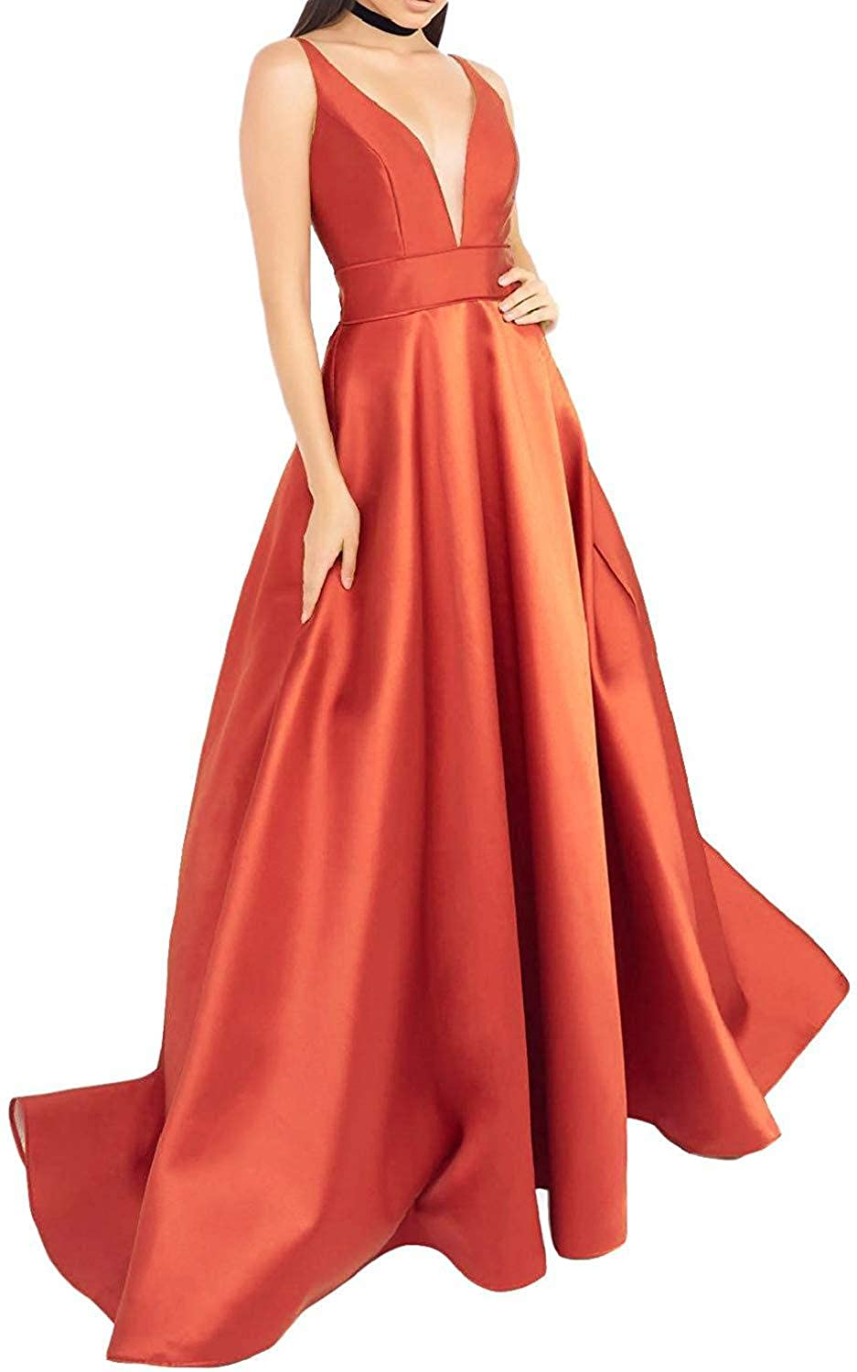 orange EverBeauty Womens VNeck Satin Prom Dresses 2019 Long Sleeveless Aline Evening Formal Ball Gown with Pockets