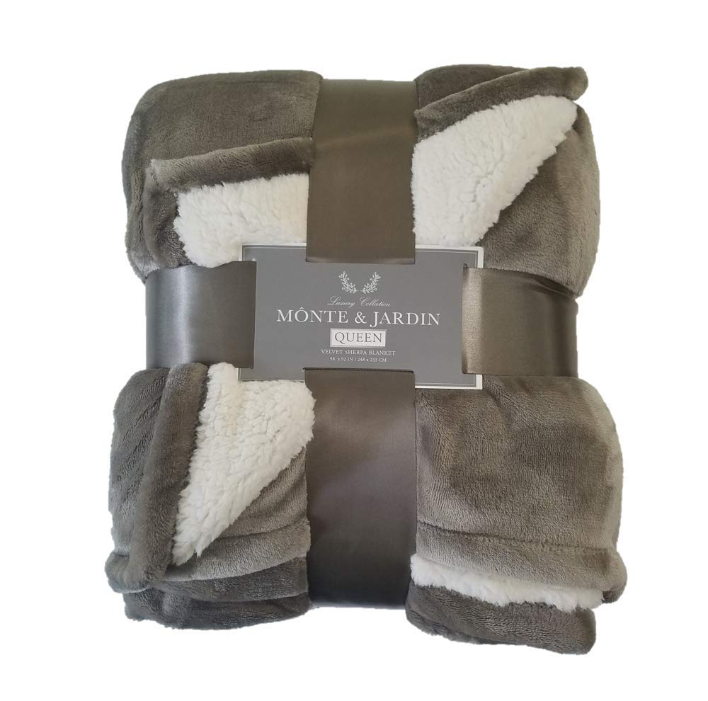 Monte & Jardin Luxury Linens Velvet Sherpa Reversible Blanket Super Sized (Queen 98 x 92, Golden Brown)