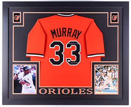 e26840837 Image Unavailable. Image not available for. Color  Eddie Murray Signed  Orioles 35x43 Custom Framed Jersey Inscribed ...