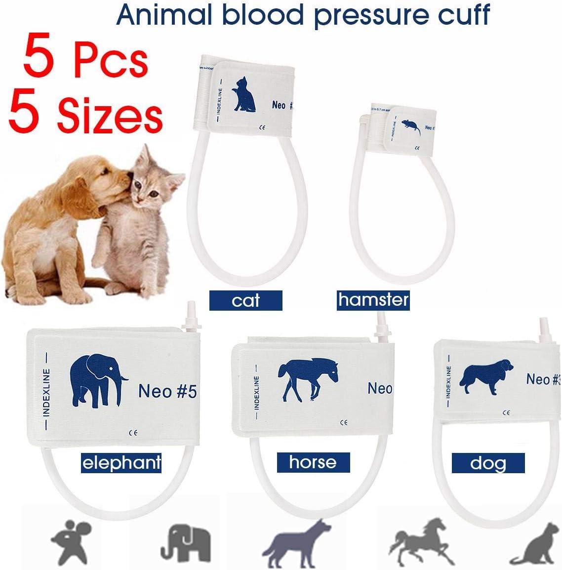 SISHUINIANHUA 5 Tamaños/Lote Presión Arterial Veterinaria Manguito del Monitor del Paciente Animales Perro Gato Mascota con Conector de Tubo único Neonatal no Tejido