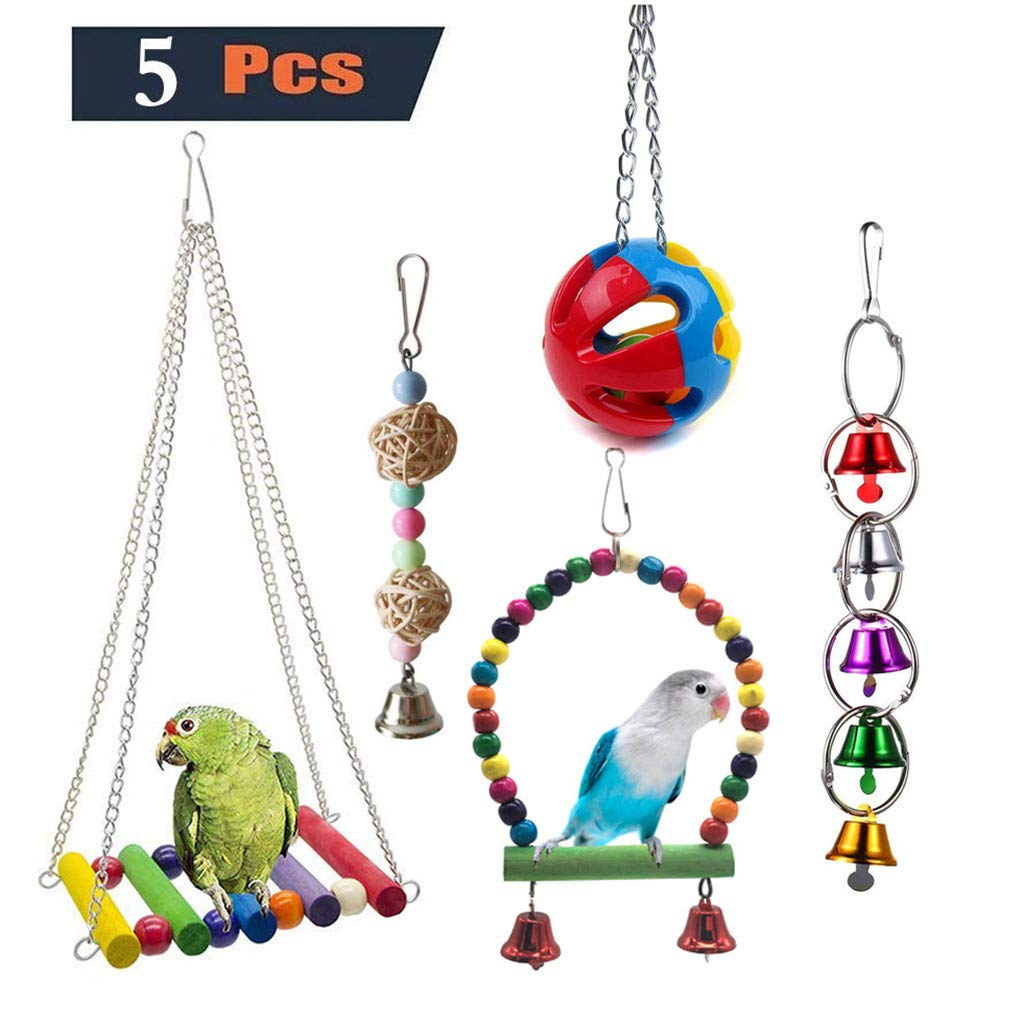 Bird Toy for Parrot,Bird Toy Bell Swing Bird Cage Pendant Colorful Bridge Pet 5PC Combination Suit for Small Parakeets Cockatiels, Conures, Macaws, Parrots, Love Birds, Finches