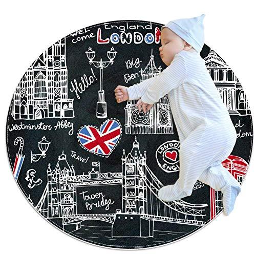 England London Symbols Black Round Rug Baby Crawling Non-Slip Mats Child Activity Play Mat for Bedroom Playroom Home Decor (Diameter 39.4