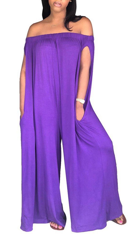 ed30c6de46f Blansdi Women Loose Jumpsuits Off Shoulder Soild Wide Leg Pants Long Rompers  with Pocket Purple Small