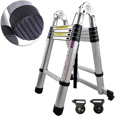 SAILUN® Escalera telescópica – Escalera – Escalera extensible de alta calidad aluminio telescópico de diseñomás utilizar con escalera 11 peldaños – 81cm hasta 3.20m Escalera soporta hasta 150 kg): Amazon.es: Bricolaje y herramientas