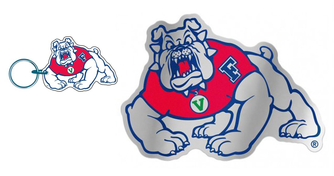 WinCraft Bundle 2 Items: Fresno State Bulldogs 1 Auto Badge Decal and 1 Premium Key Ring