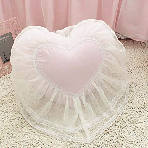 ABREEZE Girls Bedroom Throw Pillows Decorative Bed Pillows,3 Pieces Heart Pillow Square Pillow Candy Pillow -Light Pink