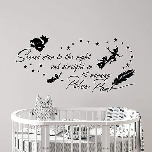 yiyitop Peter Pan Etiqueta de la Pared Segunda Estrella Cita a la ...