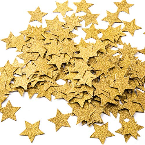 - MOWO Glitter Five Stars Paper Confetti, Wedding Party Decor and Table Decor, 1.2'' in Diameter (glitter gold,200pc)