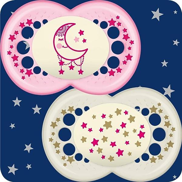 MAM - Chupetes nocturnos que brillan en la oscuridad para estuche de viaje (12 meses y por encima de rosa): Amazon.es: Bebé