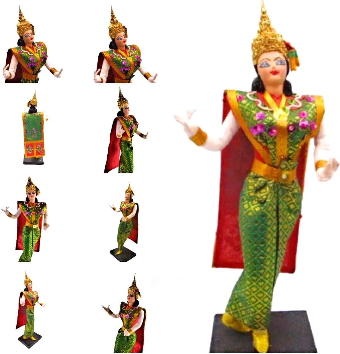 Thai Dancer Dolls Ornaments- Vintage Dancing Figures in Beautiful, Handmade & Traditional Costume- Thailand Decorative Figurines W2.3L4.4H11 inches Weight 148g