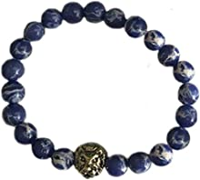 Big Cat Rescue Genuine Cobalt Blue Jasper Stone Beads Stretchy Elastic Bracelet with Lion Head Charm, 8mm, Unisex, for Friendship, Couples, Teens