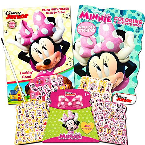Disney Minnie Mouse Paint With Water Super Set Kids Toddlers -- Mess Free Book with Paint Brush, Coloring Book and Stickers! ()