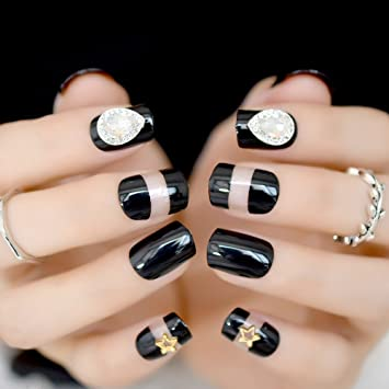 Amazon.com : CoolNail Bright UV False Fake Nails 3D Star Gems Black Clear French Nail Tips Full Cover Wear Nails for Home Office Bride Summer : Beauty