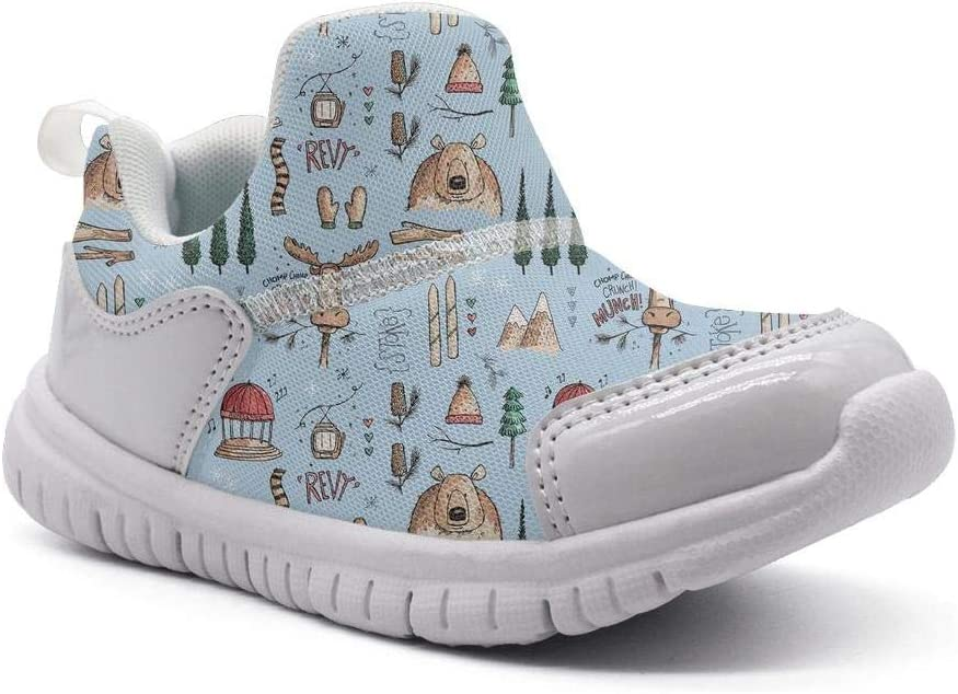 ONEYUAN Children Woodland Forest Moose and Bear Kid Casual Lightweight Sport Shoes Sneakers Walking Athletic Shoes