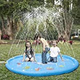 "KKONES Sprinkler pad & Splash Play Mat 68"" Toddler Water Toys Fun for 1 2 3 4 5 Year Old Boy Girl, Kids Outdoor Party Sprinkler Toy"