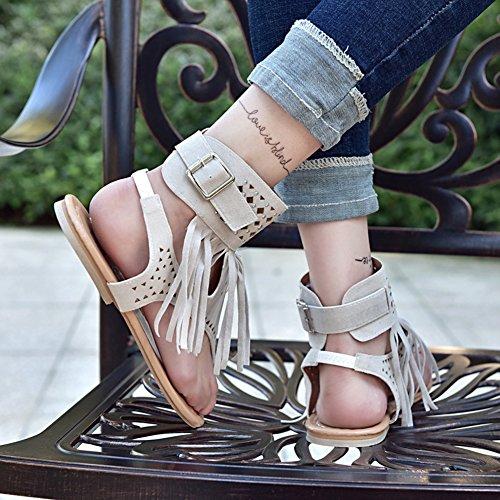 Señoras De Las Mujeres Summer Boho Sandals Zip Zapatos De Peep-Toe con Borlas Zapatos Chanclas Verano 2018 Beige