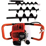DiLiBee Earth Auger Post Hole Digger Borer 3 x Drill Fence W/Extension Pole 52CC 2.3HP