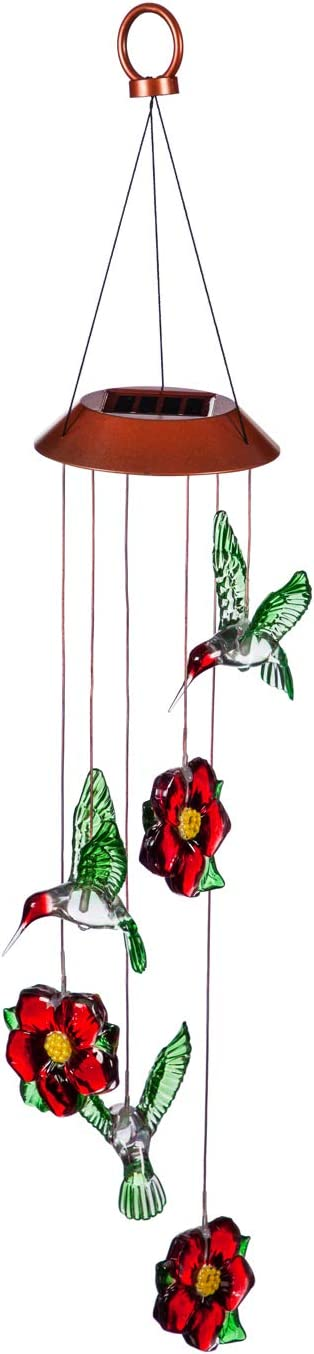 Evergreen Garden Hummingbird and Flower Color Changing Solar Mobile - 5 x 5 x 28 Inches