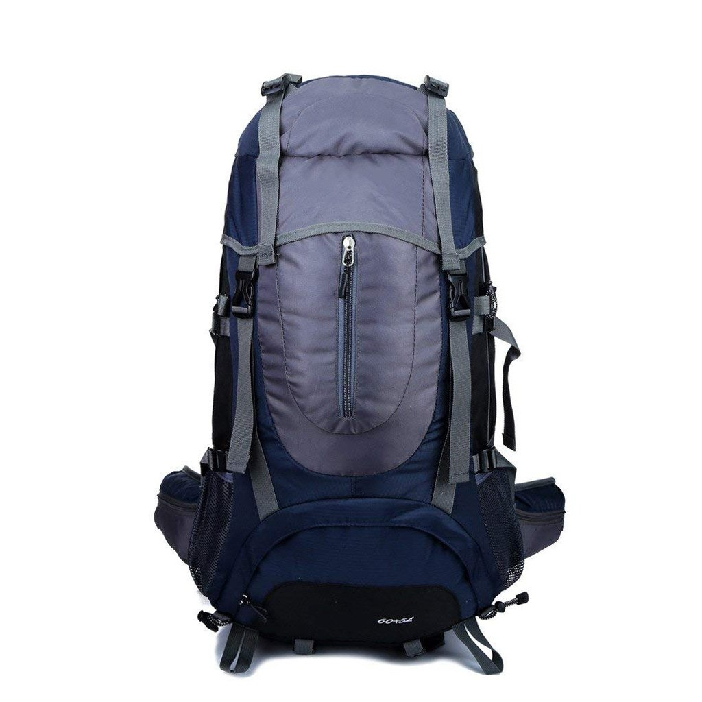 zouqilai登山バッグ65lショルダー防水メンズとレディースアウトドアバックパックハイキングキャンプバックパックバッグダークブルー60 + 5l   B07F3V49XW