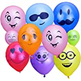"KUMEED 12"" Emoticon Face Expression Latex Multicolor Balloons Randomly Send Pack of 100pcs"