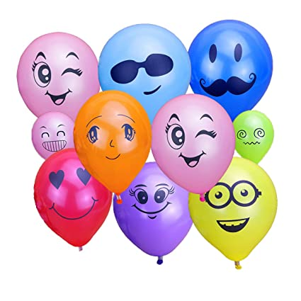 Amazon KUMEED 12 Emoticon Face Expression Latex Multicolor
