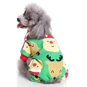 SELMAI Xmas Pajamas de forro polar para cachorro, chándal de invierno para mascotas cálido suave