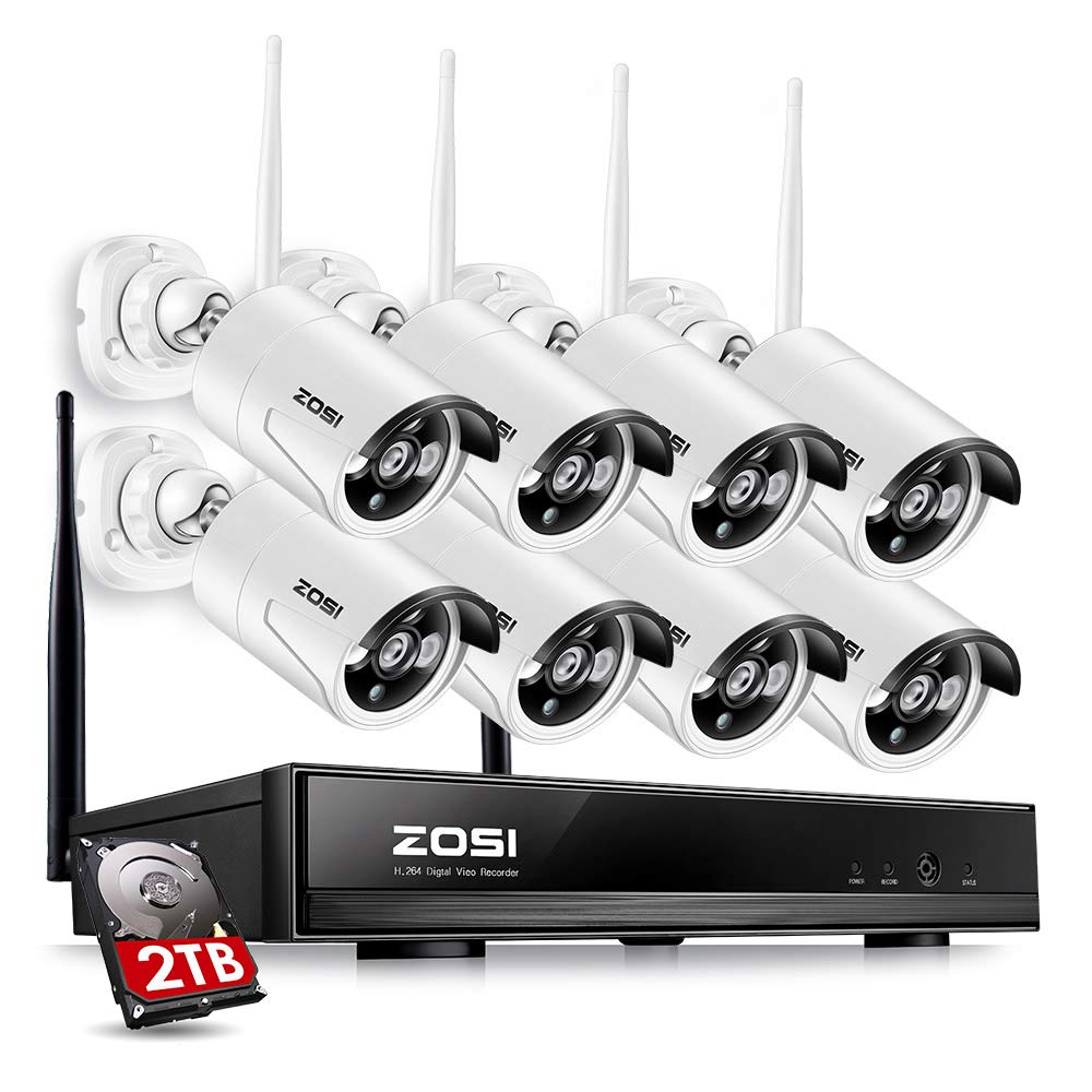 ZOSI 8CH Security Wireless Cameras System,8channel 960P WiFi NVR with 2TB Hard Drive,and 8pcs 1.3MP 960P 100ft Night Vision Indoor Outdoor IP CCTV Surveillance Cameras Kit, Smartphone Easy Remote View by ZOSI