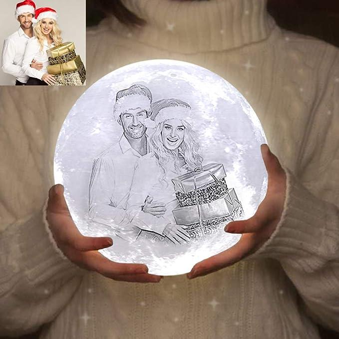 Mond Lampe LED, ACED Kundenspezifisches Foto Mondlampe Nachtlicht mit Ihrem eigenen Bild und ...