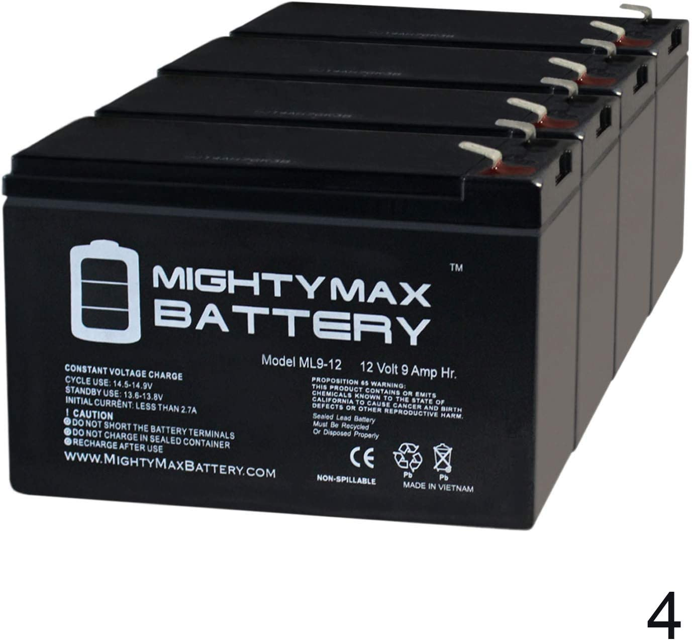 7190432-4 Pack Brand Product Mighty Max Battery 12V 9Ah Battery Replacement for Sonnenschein 1510KW