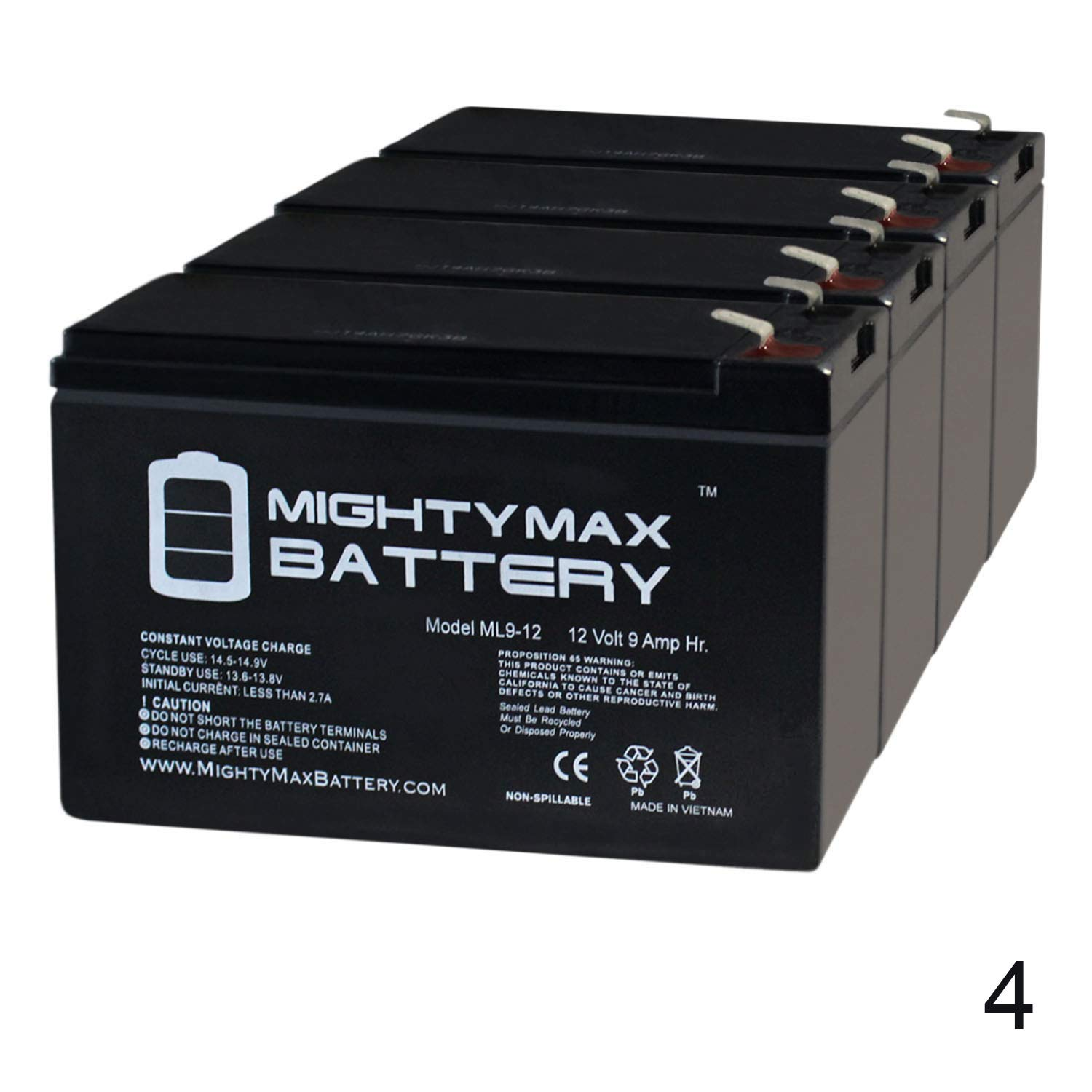 Mighty Max Battery ML9-12 - 12 Volt 9 AH SLA Battery - Pack of 4 Brand Product by Mighty Max Battery