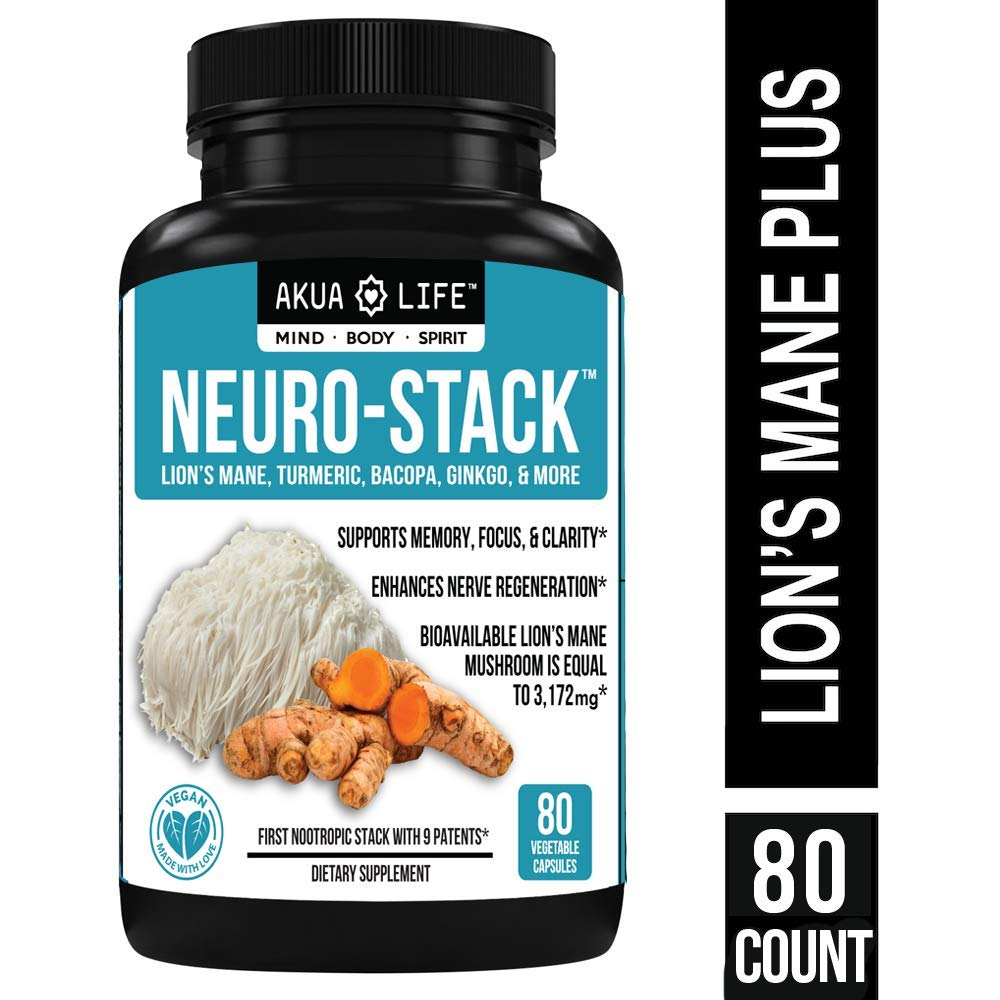 Lion's Mane Mushroom Capsules Organic- 3,172mg PLUS-9-PATENTED-Nootropics -Superior Nootropic Stack for MAX Absorption & Results, Anxiety Relief, Brain Supplement, Turmeric, Curcumin, Bioperine