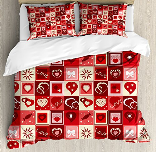 Ambesonne Red Duvet Cover Set King Size, Valentines Day Them
