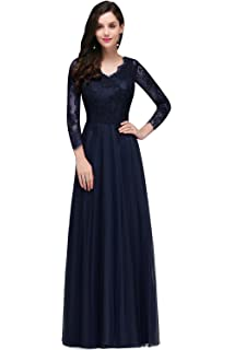 ecd9f99e3f MisShow Womens Lace Long Sleeve V Neck Formal Evening Party Long Maxi Dress