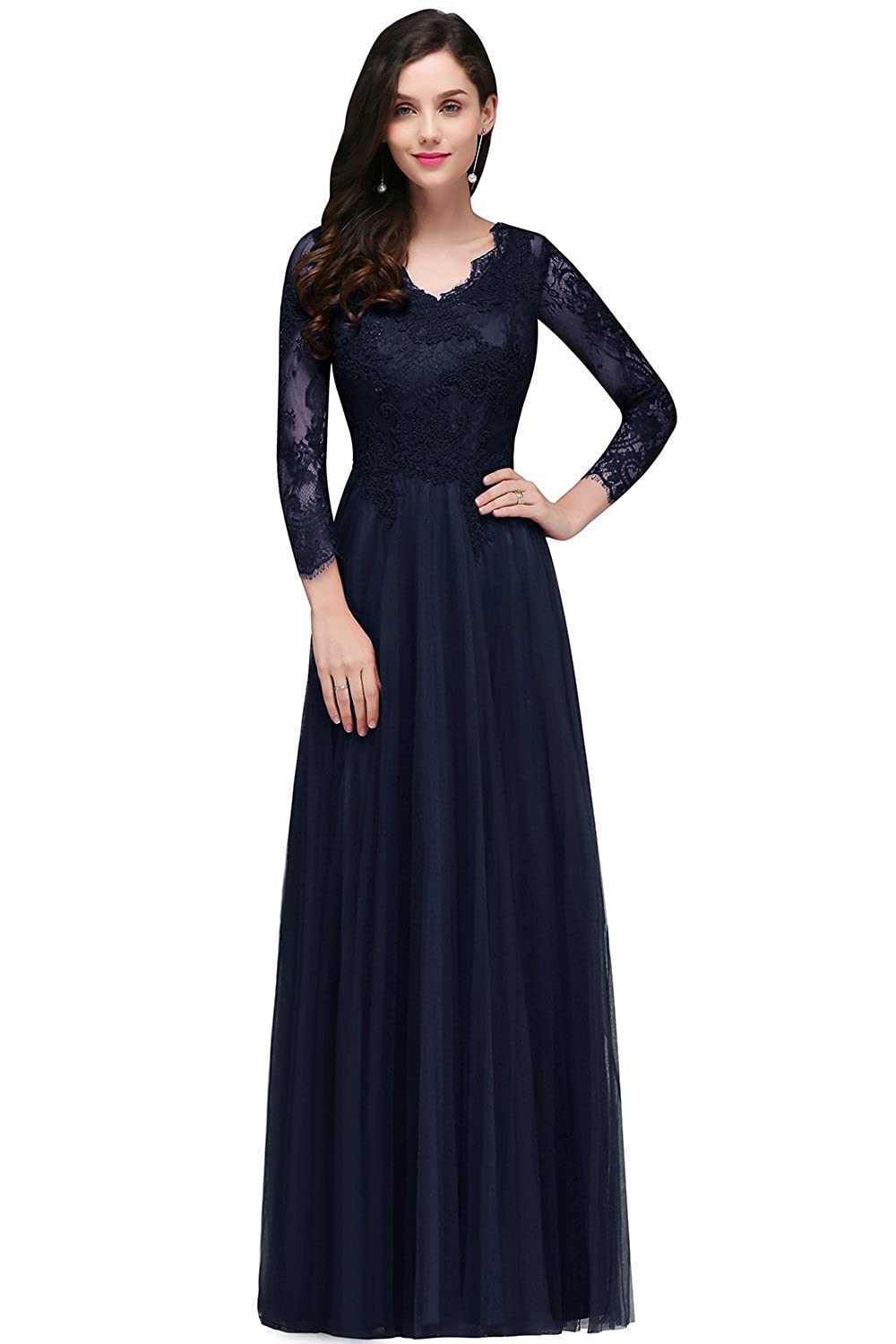 MisShow Womens Lace Long Sleeve V Neck Formal Evening Party Long Maxi Dress