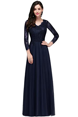 ba18dcfaeff1a MisShow Womens Lace Long Sleeve V Neck Formal Evening Party Long Maxi Dress