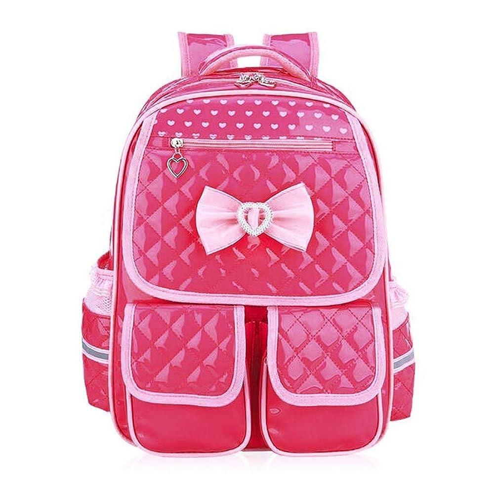 TONGSH ガールズスクールバッグバックパック、プリンセスかわいいボウスクールナイロンバックパック - 1-6年生の生徒、リュックサックバックパック防水スクールバッグ (色 : Red, サイズ さいず : L l) B07PPT2J5B Red L l