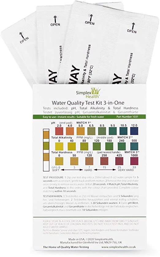SimplexHealth Total Hardness Water Test Strips 30 Strips Pouch