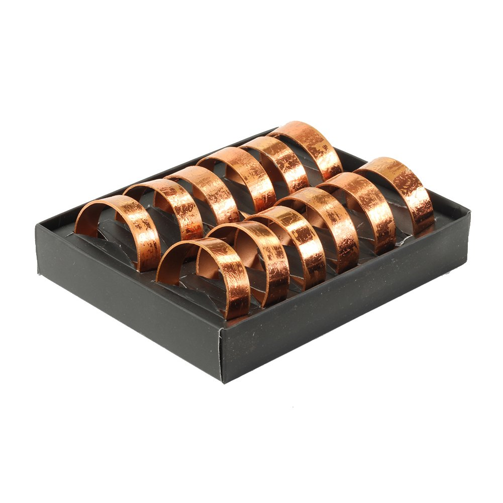 Koyal Wholesale Napkin Ring Metal Bands, Antique Rose Gold, Bulk Set of 12, for Paper Napkin, Cloth Napkin, Wedding Reception, Christmas Party, Thanksgiving Dinner, Restaurant Every Day Use